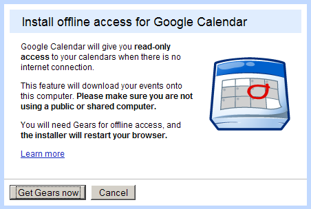 Google Calendar has an offline mode
