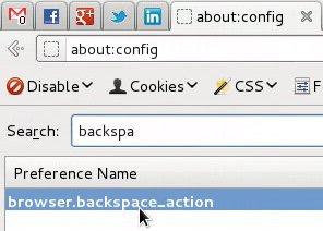 Changing browser backspace action behavior of Firefox running under Linux