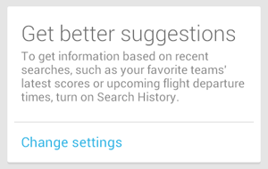 Google Now needs search (web) history to be turned on for meaningful results